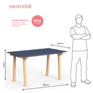 imagen tecnica mesa rectangular cavaletto 6 lugares